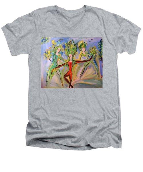 Irish Greenery  Men's V-Neck T-Shirt by Judith Desrosiers