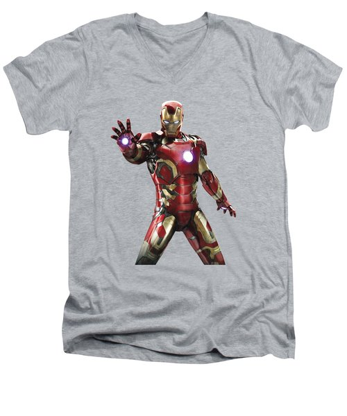 Men's V-Neck T-Shirt featuring the mixed media Iron Man Splash Super Hero Series by Movie Poster Prints