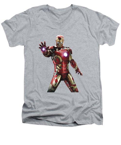 Iron Man Splash Super Hero Series Men's V-Neck T-Shirt