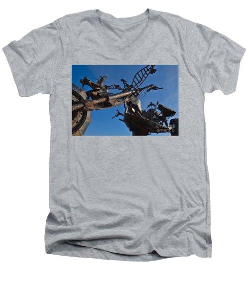 Iron Motorcycle Sculpture In Faro Men's V-Neck T-Shirt