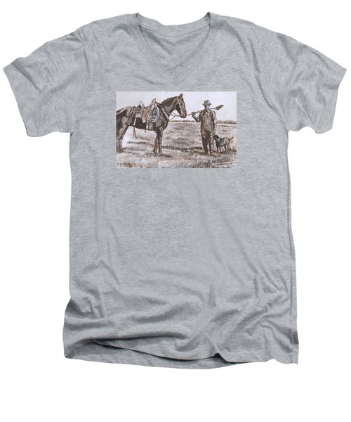 Irrigating The Hay Meadows Historical Vignette Men's V-Neck T-Shirt