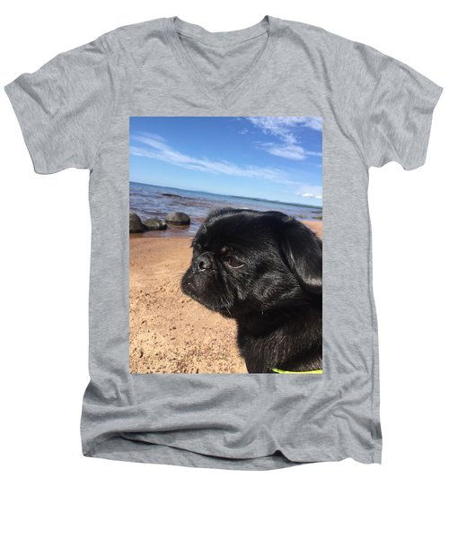 Men's V-Neck T-Shirt featuring the photograph Is This My Good Side? by Paula Brown