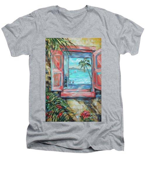 Island Bar Coral Men's V-Neck T-Shirt