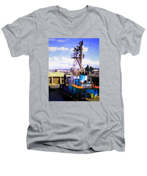 Men's V-Neck T-Shirt featuring the photograph Island Chief In The Ballard Locks by Timothy Bulone