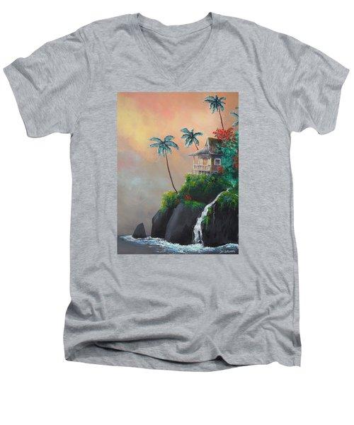 Island Getaway Men's V-Neck T-Shirt by Dan Whittemore