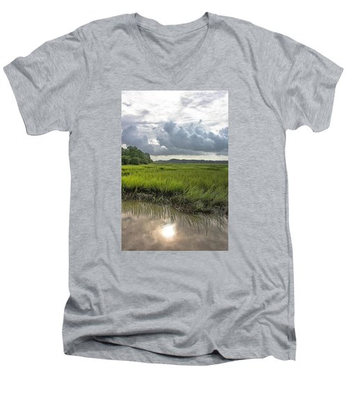 Men's V-Neck T-Shirt featuring the photograph Island by Margaret Palmer