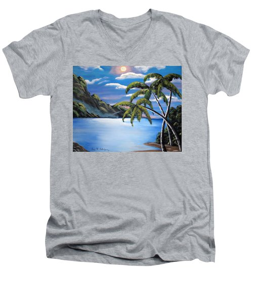 Island Night Glow Men's V-Neck T-Shirt by Luis F Rodriguez
