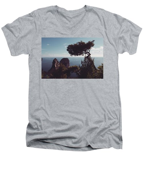 Island Of Capri - Italy Men's V-Neck T-Shirt by Cesare Bargiggia