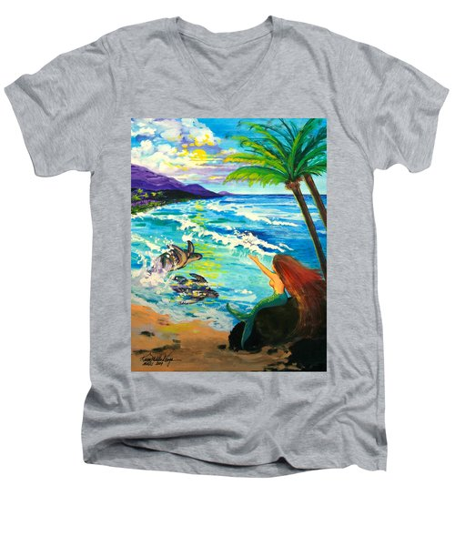 Island Sisters Men's V-Neck T-Shirt by Karon Melillo DeVega