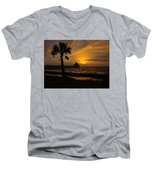 Island Sunrise Men's V-Neck T-Shirt by Judy Vincent