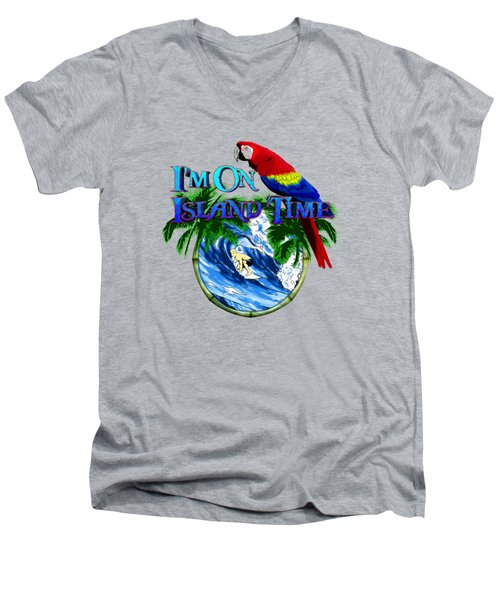 Island Time Surfing Men's V-Neck T-Shirt by Chris MacDonald