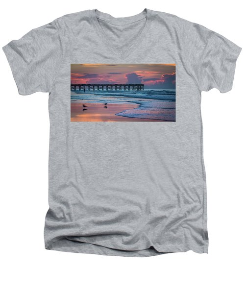Men's V-Neck T-Shirt featuring the photograph Isle Of Palms Morning by Donnie Whitaker