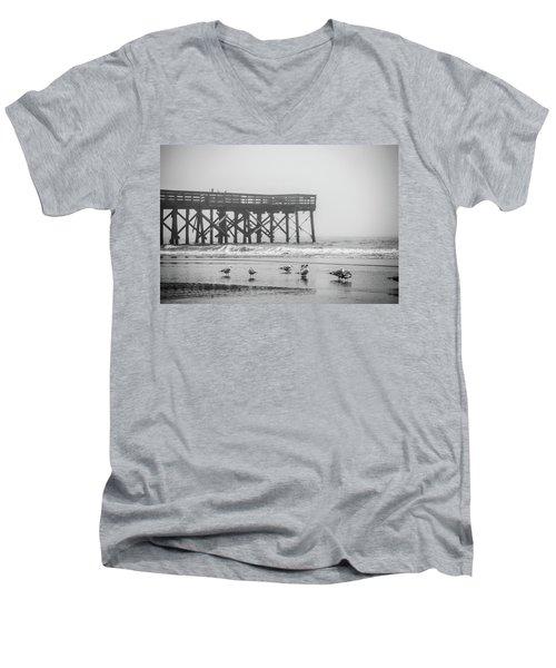 Isle Of Palms Pier And Fog Men's V-Neck T-Shirt