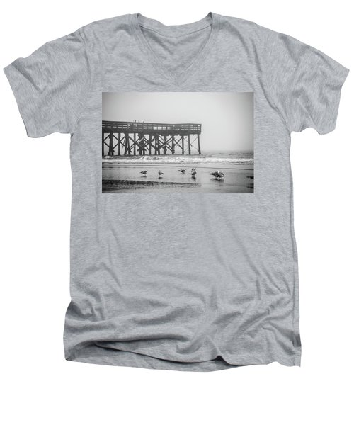 Men's V-Neck T-Shirt featuring the photograph Isle Of Palms Pier And Fog by Donnie Whitaker