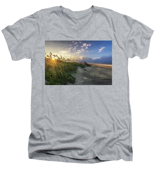 Men's V-Neck T-Shirt featuring the photograph Isle Of Palms Sunstar by Donnie Whitaker