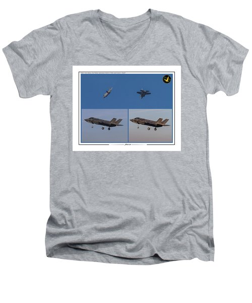 Men's V-Neck T-Shirt featuring the digital art Israeli Air Force First Two F-35i Adir by Amos Dor