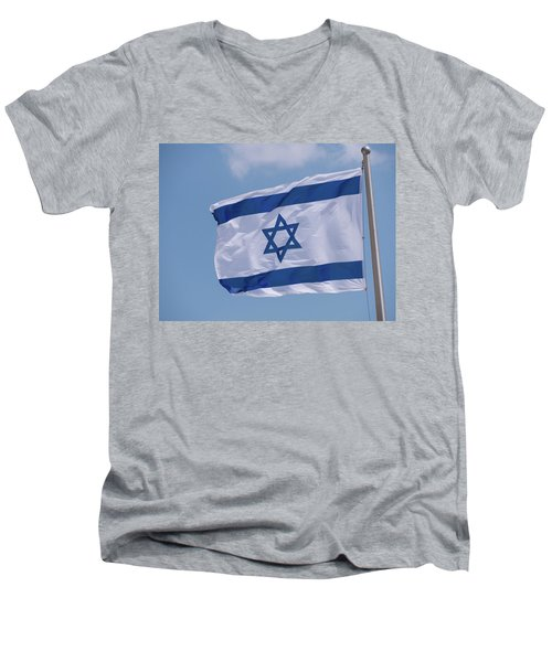 Israeli Flag In The Wind Men's V-Neck T-Shirt