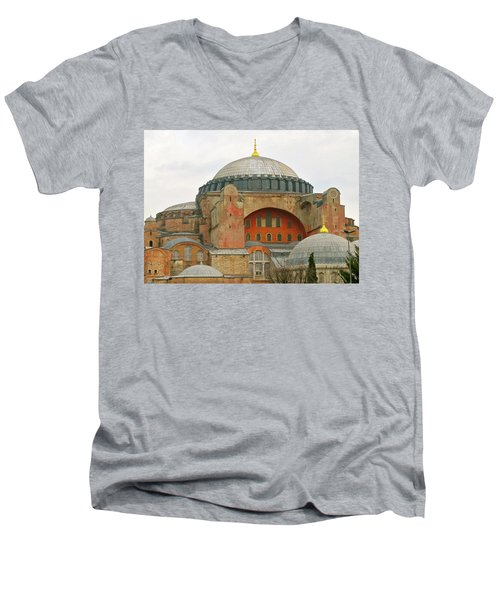 Men's V-Neck T-Shirt featuring the photograph Istanbul Dome by Munir Alawi