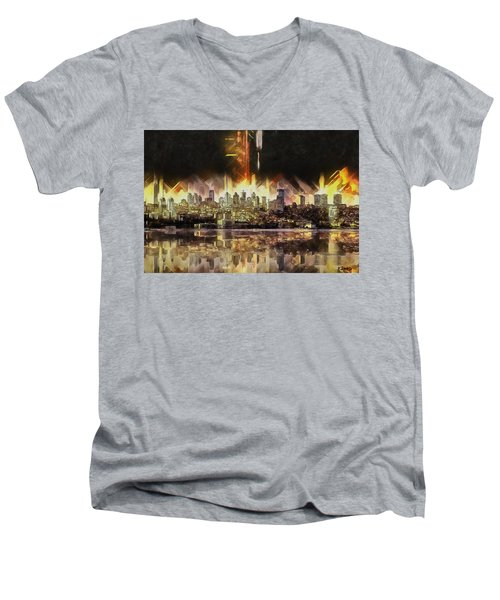 Istanbul In My Mind Men's V-Neck T-Shirt by Kai Saarto