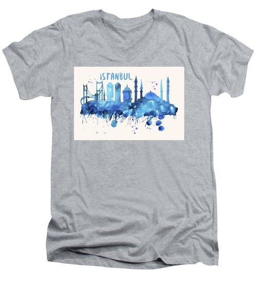 Istanbul Skyline Watercolor Poster - Cityscape Painting Artwork Men's V-Neck T-Shirt