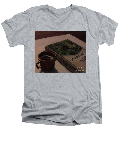 Men's V-Neck T-Shirt featuring the painting It Is Coffee Time by Olimpia - Hinamatsuri Barbu