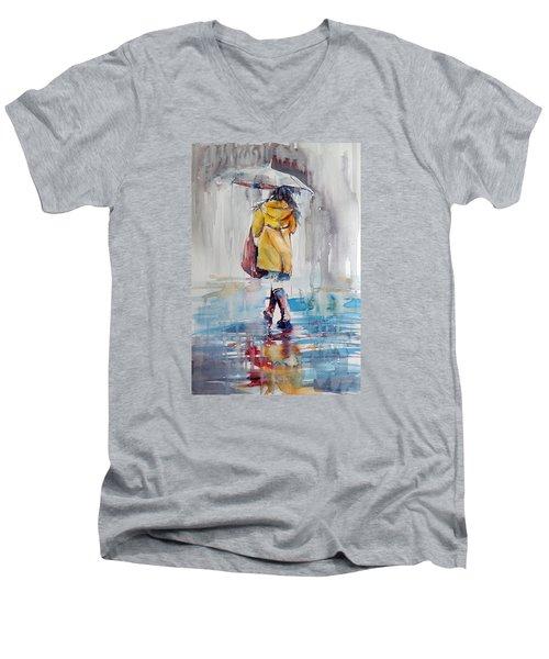 It Is Raining Men's V-Neck T-Shirt by Kovacs Anna Brigitta