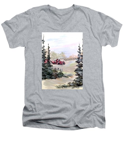 Men's V-Neck T-Shirt featuring the painting It Is Winter - 3 by Dorothy Maier