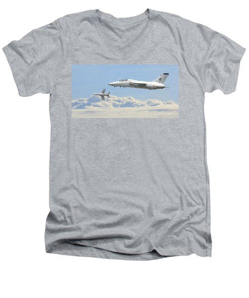 Men's V-Neck T-Shirt featuring the digital art Italian Air Force - Ghibli by Pat Speirs