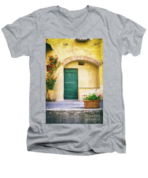 Men's V-Neck T-Shirt featuring the photograph Italian Facade With Geraniums by Silvia Ganora