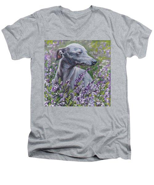 Men's V-Neck T-Shirt featuring the painting  Italian Greyhound In Flowers by Lee Ann Shepard