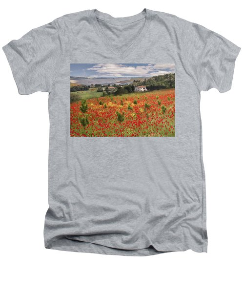 Italian Poppy Field Men's V-Neck T-Shirt