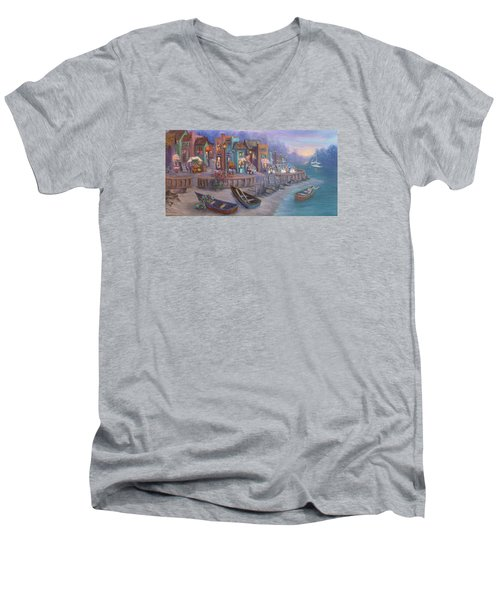 Italy Tuscan Decor Painting Seascape Village By The Sea Men's V-Neck T-Shirt