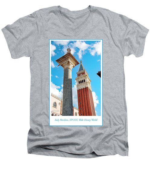 Italy Pavilion, Epcot, Walt Disney World Men's V-Neck T-Shirt by A Gurmankin