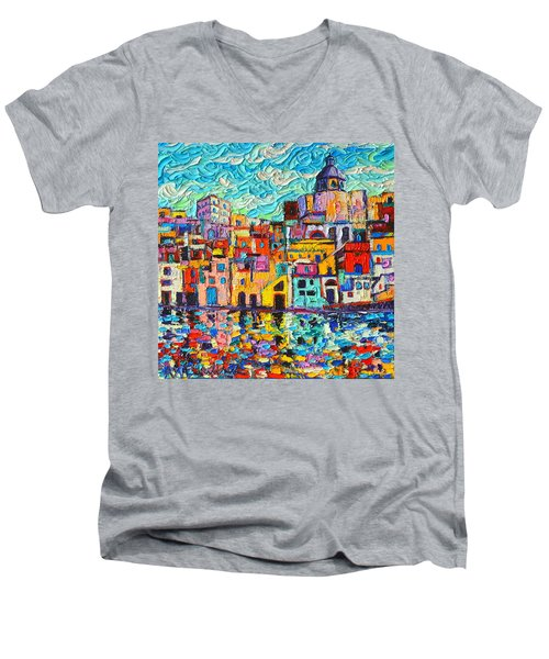 Italy Procida Island Marina Corricella Naples Bay Palette Knife Oil Painting By Ana Maria Edulescu Men's V-Neck T-Shirt by Ana Maria Edulescu