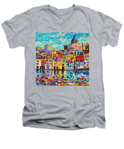 Italy Procida Island Marina Corricella Naples Bay Palette Knife Oil Painting By Ana Maria Edulescu Men's V-Neck T-Shirt