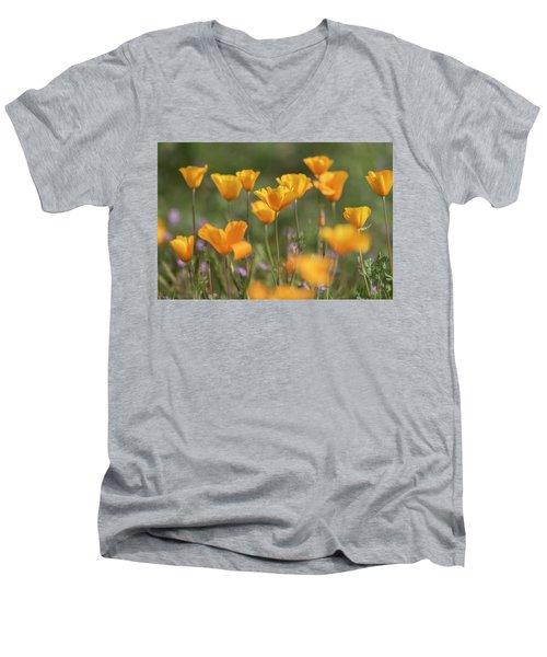 Men's V-Neck T-Shirt featuring the photograph It's A Poppy Thing  by Saija Lehtonen