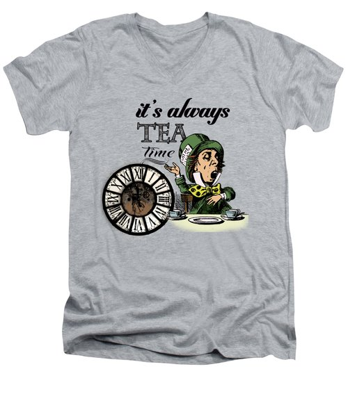 It's Always Tea Time Mad Hatter Dictionary Art Men's V-Neck T-Shirt by Jacob Kuch