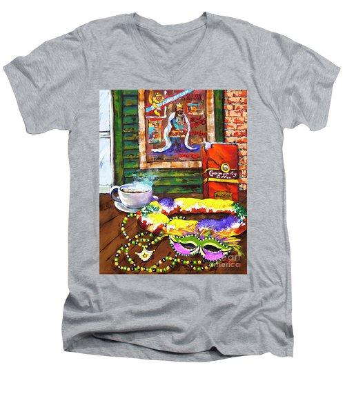 It's Mardi Gras Time Men's V-Neck T-Shirt