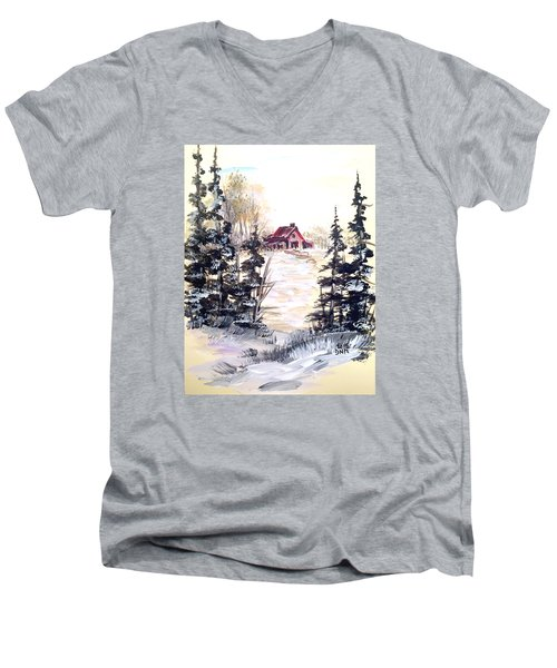Men's V-Neck T-Shirt featuring the painting It's Winter - 2 by Dorothy Maier
