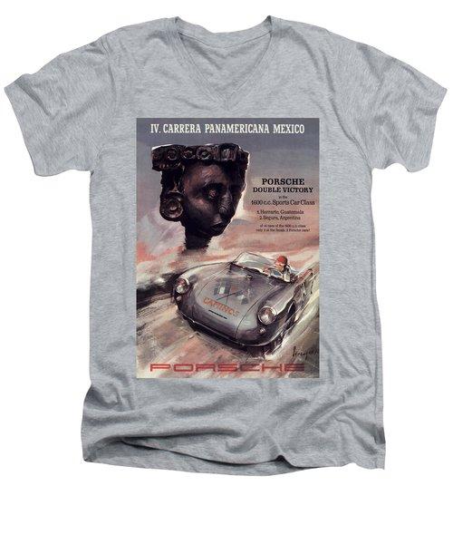 Iv Carrera Panamericana Porsche Poster Men's V-Neck T-Shirt