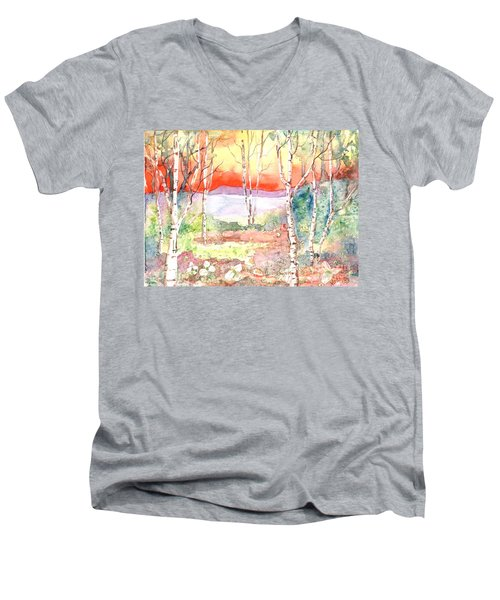 Men's V-Neck T-Shirt featuring the painting Ivan's Eve by Renate Nadi Wesley