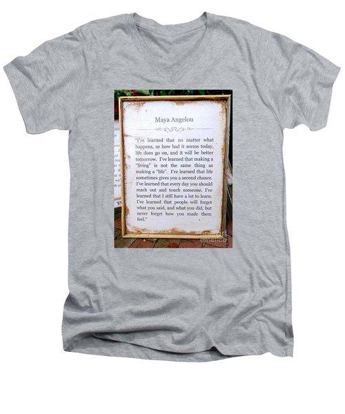 I've Learned Men's V-Neck T-Shirt by Ed Weidman