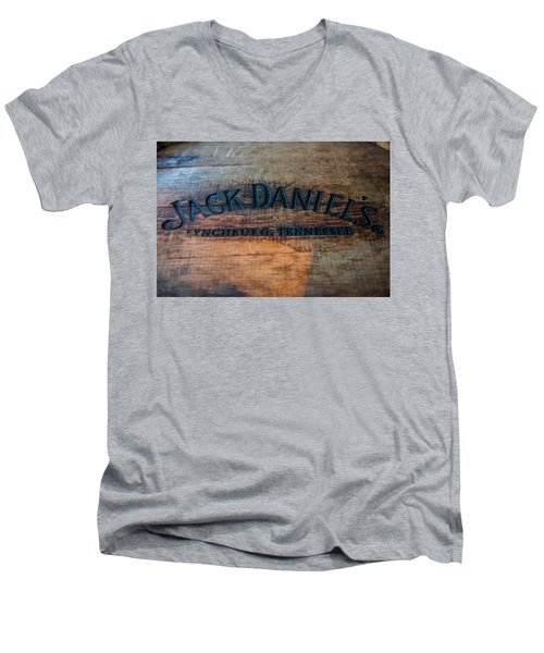 Jack Daniels Oak Barrel Men's V-Neck T-Shirt