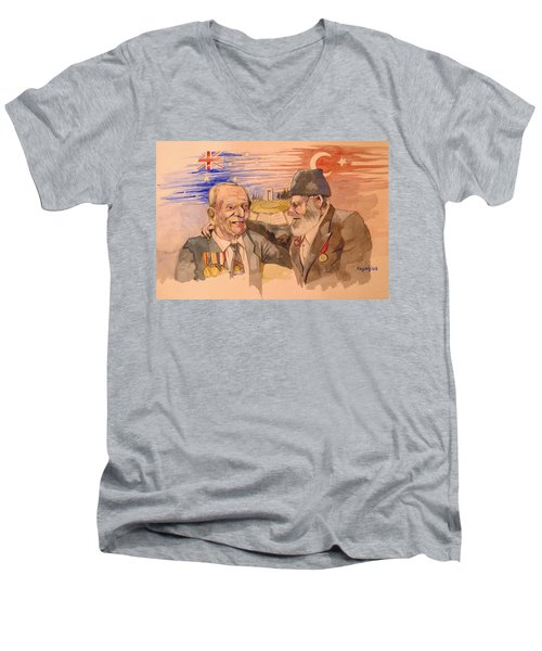 Men's V-Neck T-Shirt featuring the painting Jack Ryan And Hyseyin Kacmaz by Ray Agius