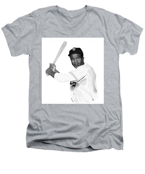 Jackie Robinson Men's V-Neck T-Shirt