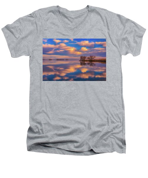 Men's V-Neck T-Shirt featuring the photograph Jackson Lake Sunset by Darren White