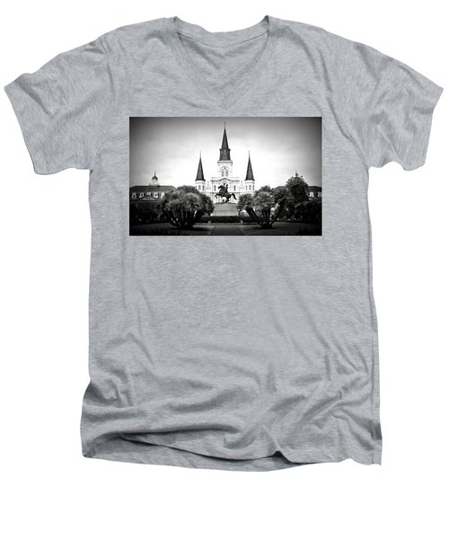 Jackson Square 2 Men's V-Neck T-Shirt by Perry Webster