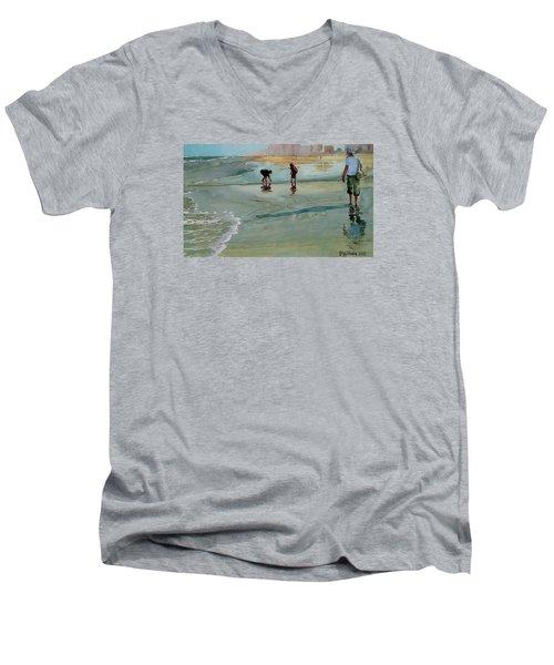 Jacksonville Shell Hunt Men's V-Neck T-Shirt by Jeffrey S Perrine