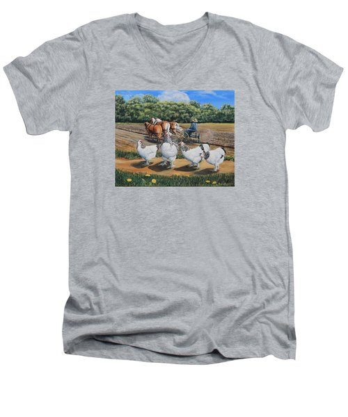 Jacobs Plowing And Light Bramah Chickens Men's V-Neck T-Shirt