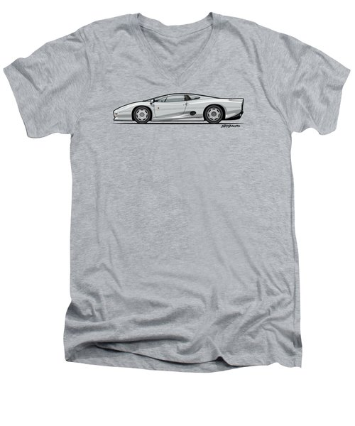 Jag Xj220 Spa Silver Men's V-Neck T-Shirt by Monkey Crisis On Mars